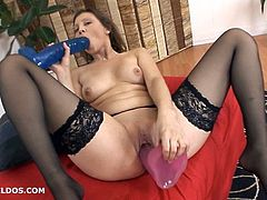 Ashley fucks herself with a brutal dildo