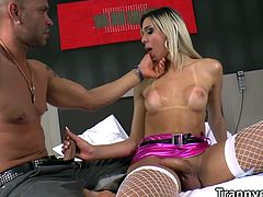 Looking so gorgeous in a flashy pink bikini immediately turns this hunk masculine dude Tony Lee as he finally rubs her big shecock and then expertly gobbles it making her scream in intense pleasure after a deep pounding in the ass alternately taking turns.