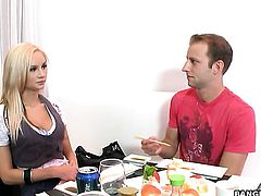 Blonde Amy Reid makes man happy by eating his dick