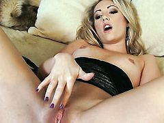 Sarah Peachez with tiny boobs and smooth pussy gets the pleasure from masturbating like never before