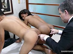 Boss Daddy Mike overhears two of his Asian twink employees arguing in the hallway and decides to intervene. He marches them into his office to lay down some discipline.