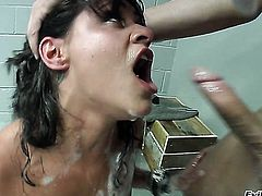Charley Chase gets her nice face covered in man cream on camera for your viewing pleasure
