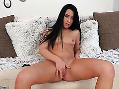 Brunette tries her hardest to give herself the greatest orgasm ever