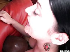 Brunette Sophie Dee with huge knockers gets her wet spot fucked hard by horny man