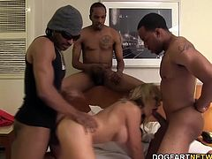 Nikki Sexx sucking and gagging black cocks. Then the black maintenance crew fuck her tight asshole.