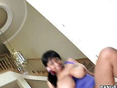 Brunette Carmen Hayes gets her many times used mouth banged again by horny man