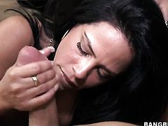 Brunette chachita and horny dude both have fierce appetite for fucking
