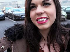 Sweet brunette Nekane in tight fit jeans flashes her lovely pussy in the street and bares her big titties in front of the camera. Shameless girl turns him on. She cant wait to fuck that chick.