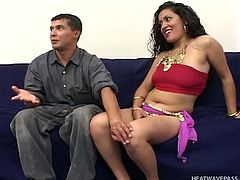 This hot Indian bitch longs for a hard dick. Her hunger is about to get fed by three horny men, who stuff their cocks down her throat. All in slutty Salmnha breaths sensuality. Click to watch this naughty curly brunette, getting loose!
