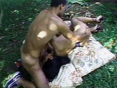 Naughty shemale takes a cock outdoors