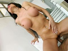 Eva is in her thirties, meaning that she is hitting her sexual peak and it shows. She has a hunger for cock and more than one at that. Eva gets those pesky clothes off and lays back, sucking and jerking their hard dicks. They rub her pussy, until she's ready to get on top and ride one guy hard.