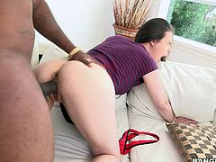 Casey Calvert gets down on her knees and gives head to Rico Strong. Then sexy ass white girl lifts her dress up and and gets her pussy banged from behind by black monster cock. Casey Calvert loves it doggy style.