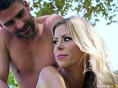 Toni gives a naughty massage to hot blonde milf Alexis, out in the backyard. The rubdown made the tall goddess feel nice and relaxed. He made sure to pay attention to her firm ass cheeks. She is getting hornier and hornier, so he face fucks her sexy mouth hard.