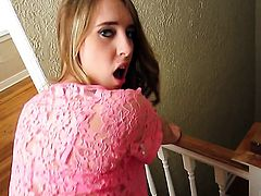 Dangerously sexy cutie Cadence Lux takes dudes cum loaded meat stick in her hot mouth