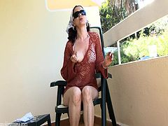 Sexy lady smokes and show off her pussy in balcony