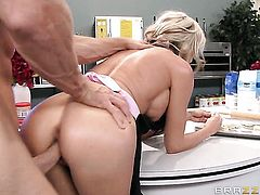 Sindy Lange with juicy hooters is totally happy to be face fucked by Johnny Sins over and over again