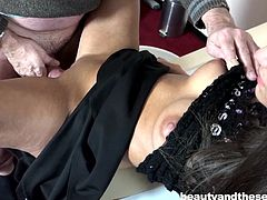 She is railed like a slut by her old sugar daddy. This naughty girl can take his old cock deep in her sweet vagina. He gets a thrill from kissing her and grabbing a hold of her sweet tits. What an accommodating lover she is.