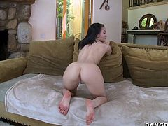 Naughty brunette Gabriella Paltrova with lovely titties and sexy butt takes off her tight jeans and pink panties and then bends over in front of a hot dude She gets tongue fucked from behind.
