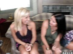 Brunette Sophia Lomeli with juicy butt and Alexa Jaymes both have fierce appetite for lesbian sex