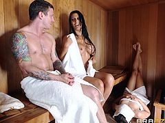 Hot milf Mackayla, is in the sauna with her man. She shows off her huge tits and sucks on his stiff rod. She can deepthroat better than any other milf out there. Will she let him cum in her mouth? Watch and find out.