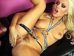 Hot blonde Cameron Dee plays with her hairy gash before having it pounded by a hard cock