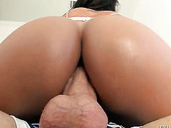 Mike Adriano bangs incredibly hot Franceska Jaimess pretty face with his dick after anal sex