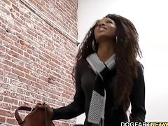 Beautiful ebony September Reign sucks white gloryhole cock and gets her face covered in cum.