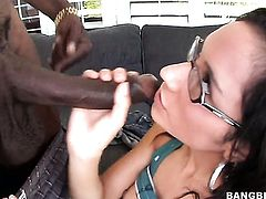 Brunette Tia Cyrus fucks a lot with hot dude before she gets enough in interracial hardcore action