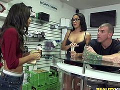 Girls walk into the shop, looking to do some shopping, but the famous porn show Money Talks is on site, looking for hot bitches, that will strip naked for cold hard cash. Which one of these naughty sluts will agree to flash her hot tits?