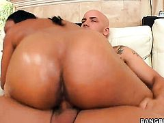 Brunette Imani Rose gets her mouth stretched by dudes stiff cock