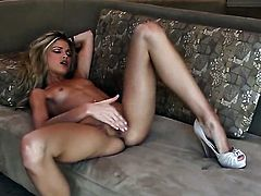 Franziska Facella with small tities and trimmed muff is totally naked and plays with her honeypot non-stop