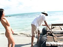 Cute naked asian girl Miako by the sea