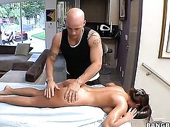 Madison Ivy is having her pussy and tits massage