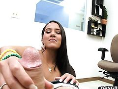 Brunette Kim Capri with tiny tits gets her lovely face painted with jizz on cam for your viewing ent