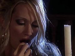 Cute blonde is in the bed here and she is giving a blow job. She is also turning to her side to be side fucked on the bed. She is really enjoying herself.