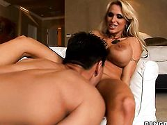 Blonde Holly Halston does dirty things and then gets her lovely face cum covered