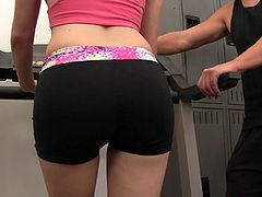 Petite cock sucker gets fucked in the gym by her personal trainer