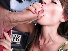 Brunette Franceska Jaimes with bubbly butt beating guys meat