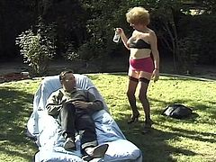 Tom was just relaxing in his yard, when Diane walked up on him. She was offering sex! He couldn't believe a woman of this age was still sucking dick for cash, but it was really happening. He didn't know what to do at first, but then he thought