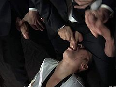 Dana Vespoli gets her hot asian mouth drilled by two, three and four cocks at the same time in oral gangbang action with open mouth facials in the end. She loves hard cocks and fresh cum.