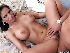 Syren De Mer with big booty has fire in her eyes as she jerks dudes beefy love stick