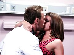 Brooklyn Chase is good on her way to make hot guy bust a nut on oral action