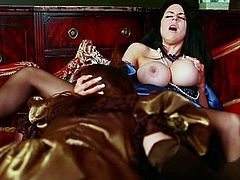 Two scorching nymphos with big knockers participate in a threesome