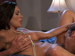 Good looking brunette woman Kirsten Price with juicy big tits gets her delicious pussy tongue fucked in the comfort of the bedroom. She rubs her boobs and he eats her snatch. They both love it so much.