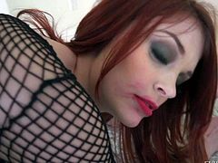 Lovely redhead Bree Daniels in black fishnet outfit gets down on her knees in front of Manuel Ferrara. Gorgeous vixen with rich make up is hungry for cock and gives blowjob like a pro!