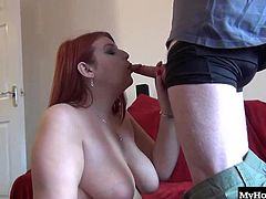 Hes too busy working on math problems and rocket science to get the attention of the ladies. Today is his lucky day when this curvy red head makes it her mission to get him off. She sucks his big nerd cock as he fingers her shaved pussy. Shes good at what she does and she gets him to blow his big pent up load all over her face