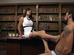She makes him gets down on his knees to worship her big lady cock. Venus is a hot Asian tranny and she loves to be in charge. Watch as she chokes her man and teases him with her sexy feet. What a cruel mistress she is!