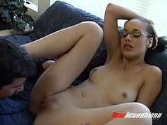 Breathtaking brunette wearing glasses rubs on her clits while riding a massive cock hardcore