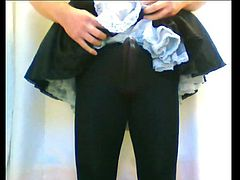 French maid opaque black tights cock cumshot orgasm