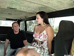 Brunette Isabella Bones has a nice time playing with cum loaded cock
